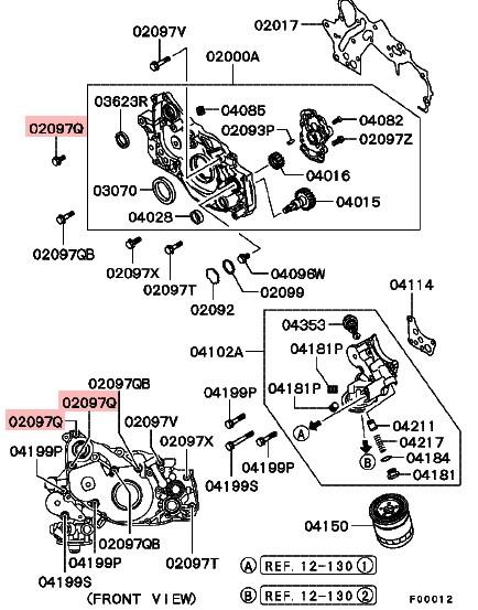 Bolt engine front case, EVO 7/8/9 8x20 - MF140225, Others - 4turbo4turbo