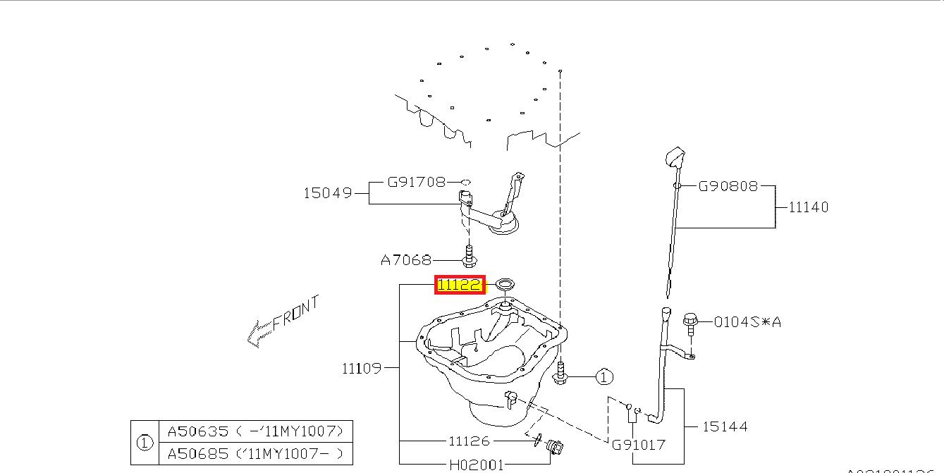 Sealing - oil pan Impreza (STI,WRX) 2011-2014, WRX STI 2014+, Forester XT  2011-2014 - 11122AA360