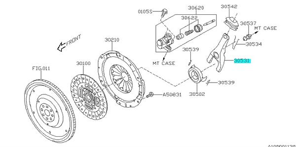 Lever clutch release Subaru Legacy 1997-2014, Forester 1997-2012, GT/WRX/STI 1992-2012, Outback 1997-2014 - 30531AA220