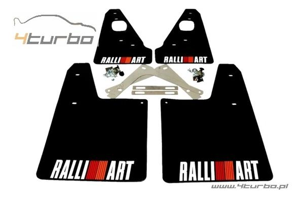 Performance Creations mud flaps EVO 10, black, colour logo Ralliart