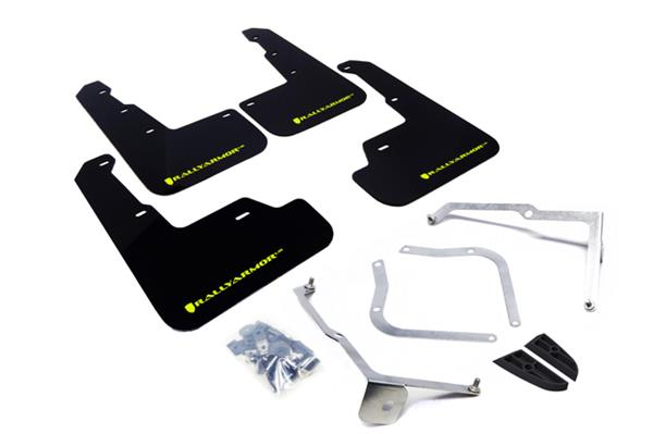 Mud flaps Rally Armor UR WRX STI 2014+, sedan, black, green logo - MF32-UR-BLK/CGN