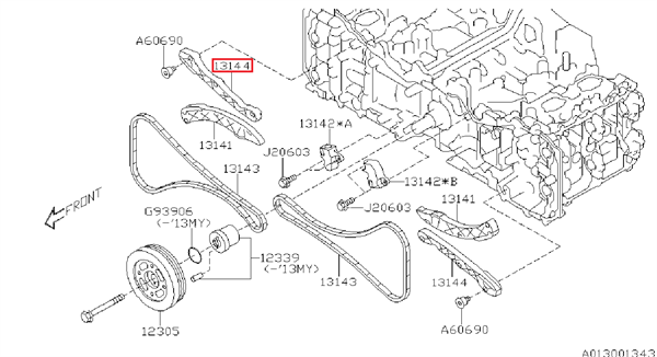Guide, timing chain Impreza 2012-2016, BRZ, Forester 2011+, Levorg, Outback 2014+, XV - 13144AA200