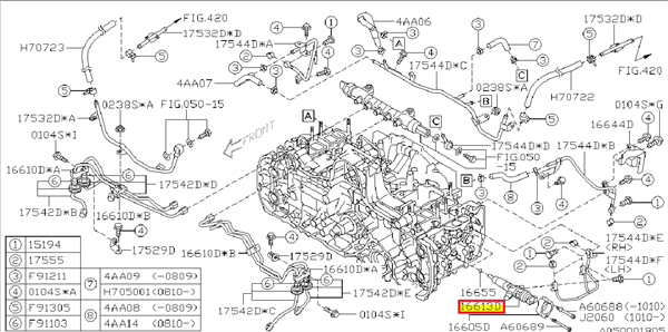 Fuel injector assembly Subaru Diesel Impreza 2008+, Forester 2008+, Legacy/Outback 2008+ - 16613AA020
